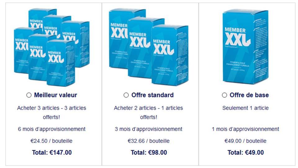 tarifs et achats member XXL